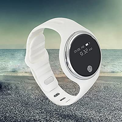 E07 Smart Band Bracelet IP67 Waterproof Step Tracker Activity Fitness Sleep Tracker Pedometer Swimming Smart Watch Wristband for IOS Android(White)