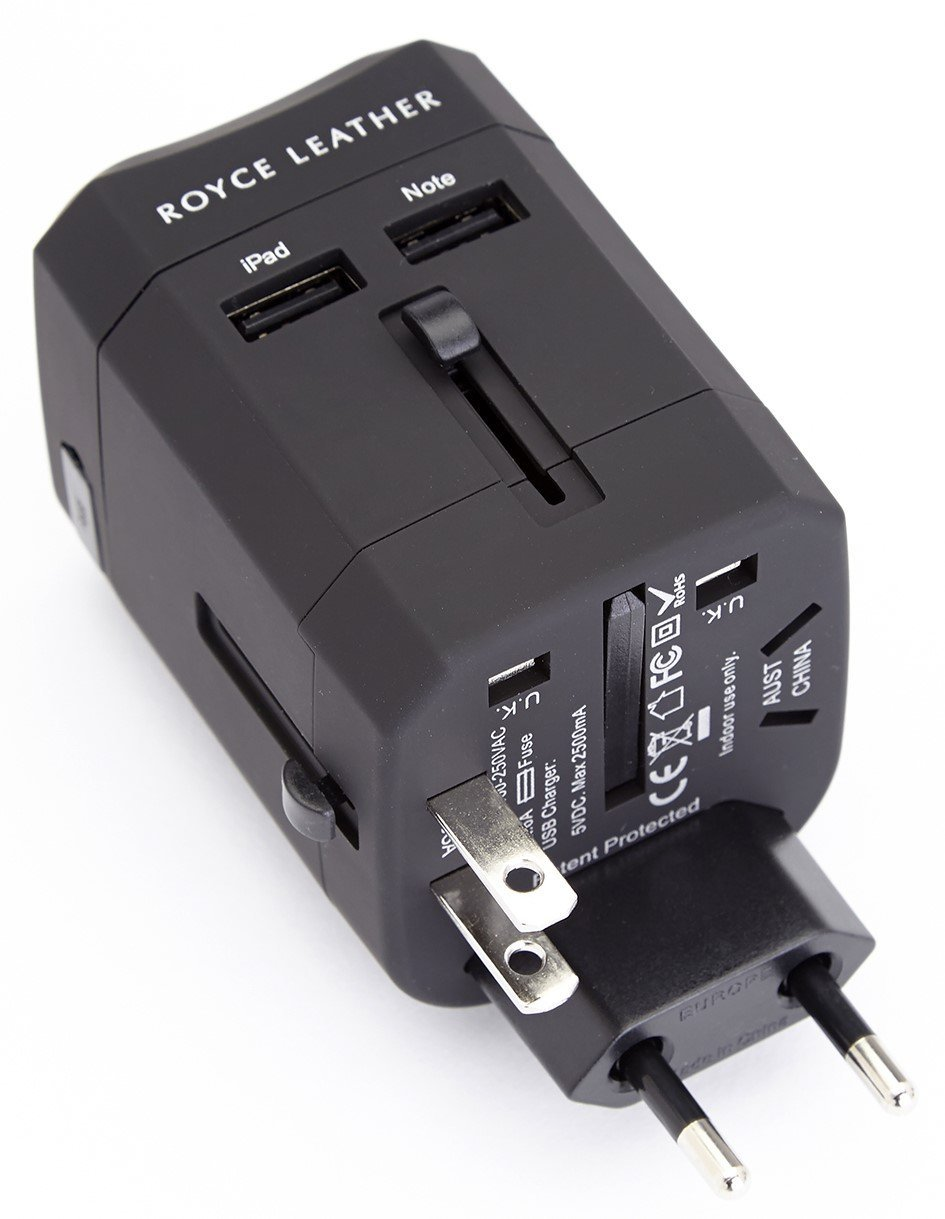 Royce 880-BLACK-2 Travel Adapter In Italian Leather Case, Black, One Size