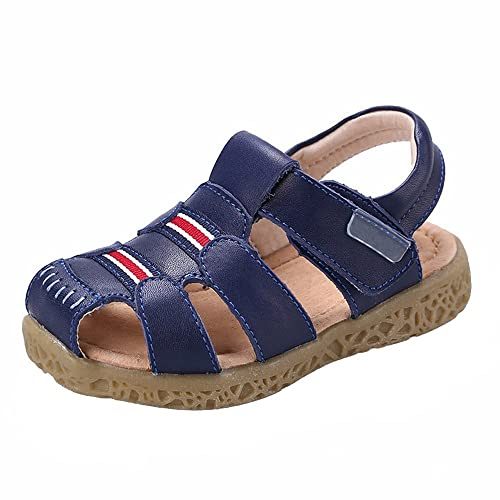 buy popular 6fe08 abf72 GAXmi Kids Toddler Closed Toe Leather Sandals Shoes for Boys Girls Baby Blue