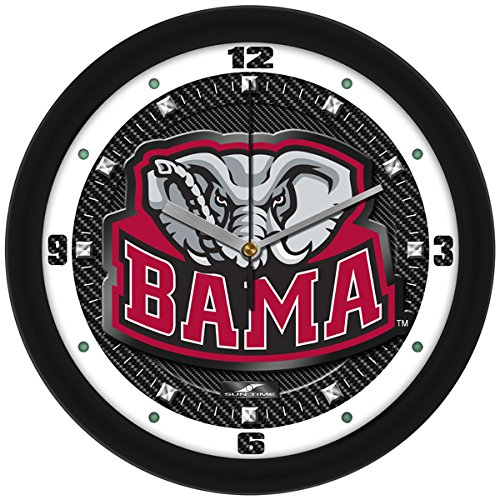 SunTime NCAA Alabama Crimson Tide Textured Carbon Fiber Wall Clock Alabama Crimson Tide Clock