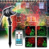 Christmas Laser Light Projector, 8 Christmas Patterns +Red&Green Laser Light Star Show with RF Remote Control for Outdoor & Indoor Halloween, Thanksgiving, Christmas Decoration