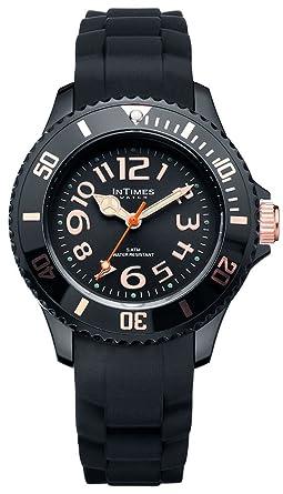 a758244e45 INTIMES インタイムス 36mm シリコン レディース キッズ 腕時計 ローズゴールド ブラック
