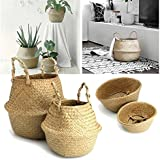 """RISEON Natural Seagrass Belly Basket Panier Storage Plant Pot Collapsible Nursery Laundry Tote Bag with Handles (13"""" (32x28cm))"""