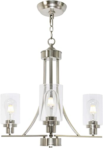 BONLICHT Contemporary Chandelier 3 Light Brushed Nickel Modern Lighting Fixtures Hanging Clear Glass Shades Pendant Light Classic Ceiling Lamp for Kitchen Dinging Room Living Room Bedroom Hallway
