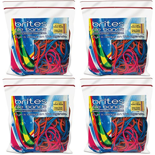 Alliance Brites File Bands (7 x 1/8 Inches) in Three Brite Colors - 50 Bands in a Resealable Bag - Made in the U.S.A., 4 Packs