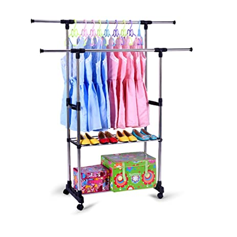 Lucky Tree Portable Double Rail Clothes Rack Adjustable Garment Rack  With  Wheels 2 Tiers Storage