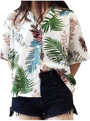 Waetfor Camisa Hawaiana de Verano para Mujer, Suelta, con Estampado Floral, con Solapa, Manga Corta, Blusa de Color sólido para la Playa, Camiseta, Camiseta para Mujer Blanco Blanco Taille Unique: Amazon.es: Ropa