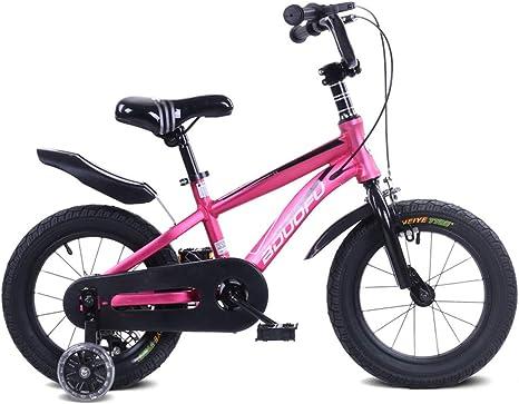 CWCW Bicicleta De Montaña para Niños, Aleación De Aluminio, Bicicleta, Pedal, Rueda Auxiliar, 16 Pulgadas, Adecuada para Deportes Al Aire Libre,Rosado: Amazon.es: Deportes y aire libre