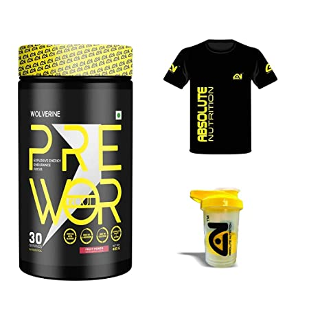 Absolute Nutrition Wolverine Pre Workout Supplements Sports Energy Drink Powder Fruit Punch 400grams With Free Absolute T Shirt And Shaker Amazon In Health Personal Care