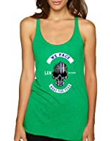 Allntrends Women's Tank Top We Face What You Fear USA Flag Skull