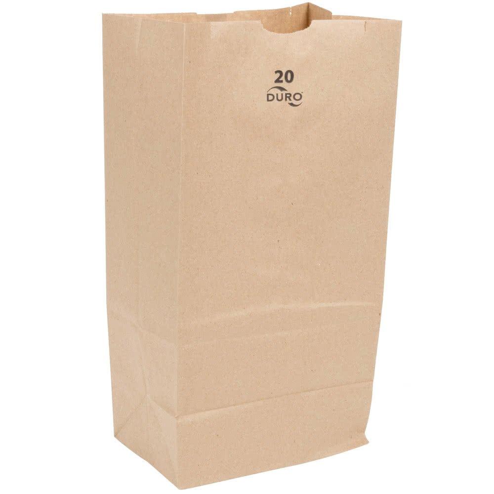 20# Kraft Brown Standard-Duty Paper Bags - 8 1/4 x 5 5/16 x 16 1/8 (DRO80961)