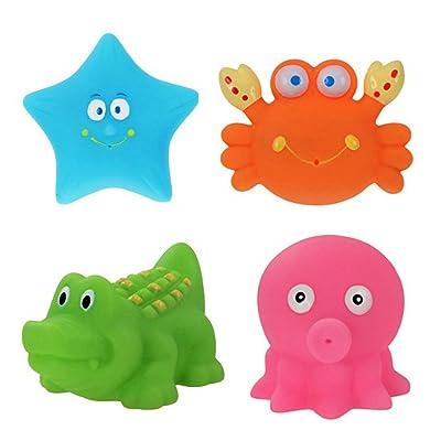 TOYMYTOY Juguetes De Baño Bebe Patrón Animal de Silicona para Niños Pequeños y Niños Unisex 4 Piezas: Juguetes y juegos