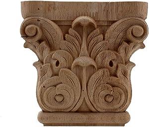 Vintage Floral Carved Corner Wall Door Furniture Decorative Figurines Wood Appliques for Home Decor Decoration Accessories 12cmX12cm