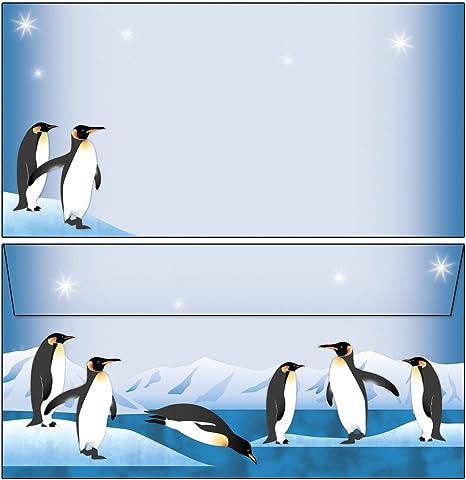 20 Briefumschl/äge DIN lang nette Pinguine Briefblock-Mappe 1 Schreibblock DIN A4