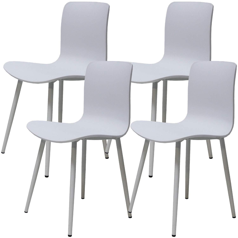 Bianco Sedia da Pranzo Senza Tempo con Piedini in Metallo Robusto Stile Ellexir Set di 4 Sedia da Pranzo Design da Pranzo Trend Stabile e Solida Sedia da Pranzo