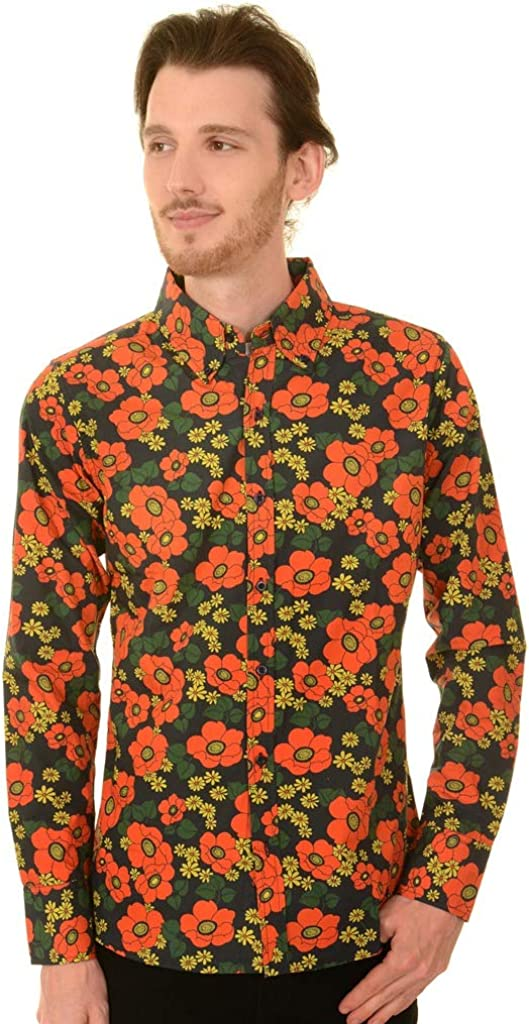 60s , 70s Hippie Clothes for Men Run & Fly Mens 60s Retro Floral Poppy Button Down Shirt $48.78 AT vintagedancer.com