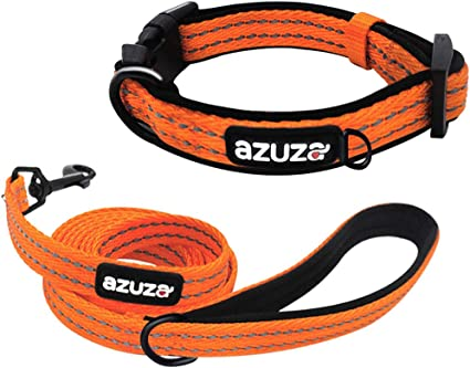 azuza Durable Padded Dog Leash and Collar Set Reflective Strip Extra Safe and Comfy for Small to Large Dogs