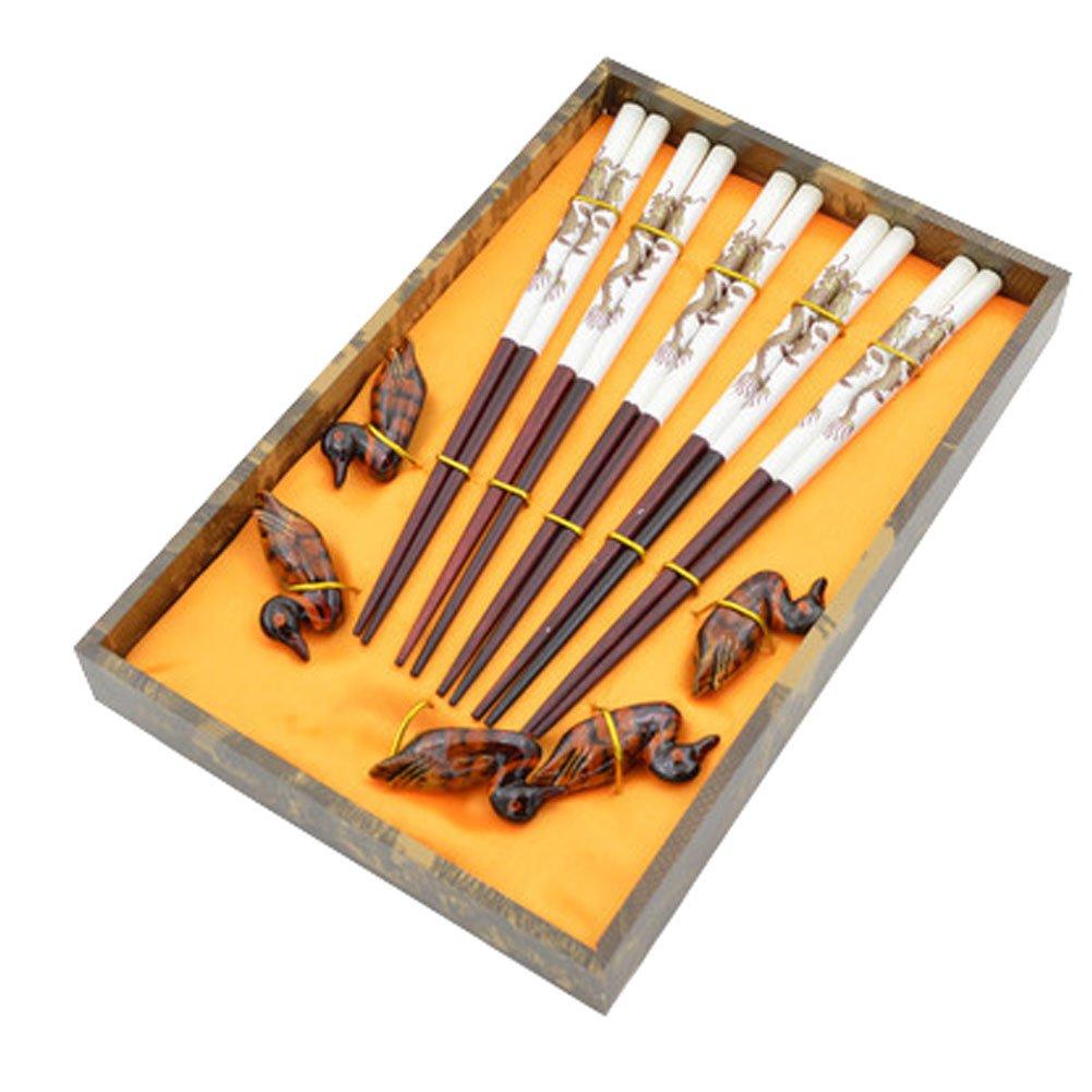 5ペア木製箸と箸置きホルダーケース付きギフトセット、ホワイト B0142QDZA4