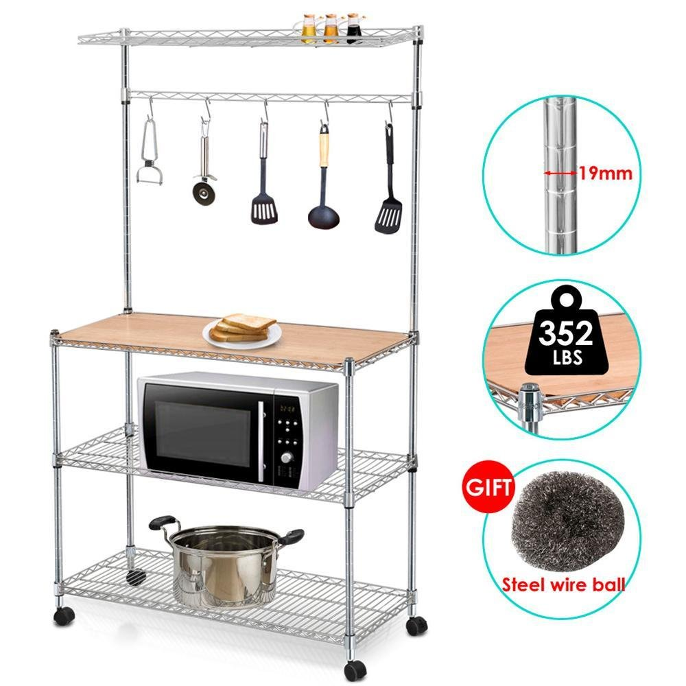 Yaheetech 4 Tier Rolling Chrome Baker's Rack Microwave Stand Kitchen Cart Storage Shelves Coffee Workstation Space Saving YT-1319