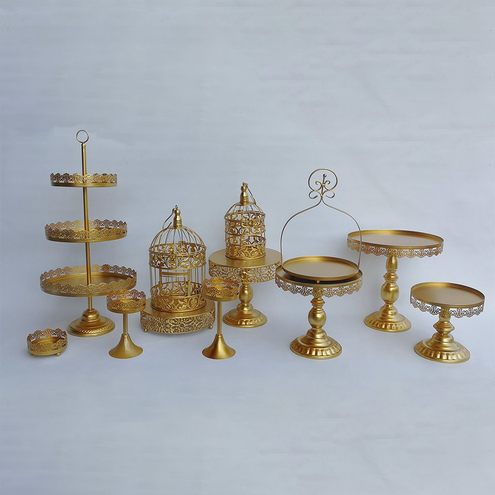 HUKOER Cake Stand of 12, wedding decoration,Gold Wedding Dessert Tray Cupcake Pan Party Supply (Set of 12 cake stand)