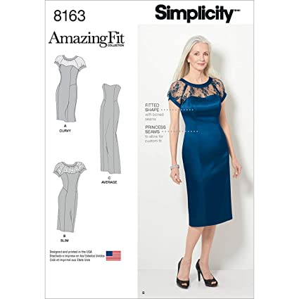 fb573c98fbee Amazon.com  Simplicity Pattern 8163 Miss and Plus Amazing Fit ...