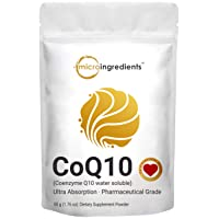 Water Soluble COQ10 Supplement (COQ10 Powder 200mg Per Serving), 50 Grams, Strongly Support Heart Health and Energy Production, No GMOs and Vegan Friendly