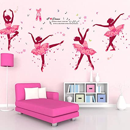 Highpot Diy Lovely Ballet Girl Art Wall Stickers For Kids Rooms Home Decor Flower Butterfly Wall Decals Bedroom Decor Pink
