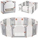 LIVINGbasics Foldable Baby Playpen, 14-Panel Kids Safety Activity Center Playard with Locking Gate, Adjustable Shape, Portabl