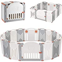 LIVINGbasics Foldable Baby Playpen, 14-Panel Kids Safety Activity Center Playard with Locking Gate, Adjustable Shape…