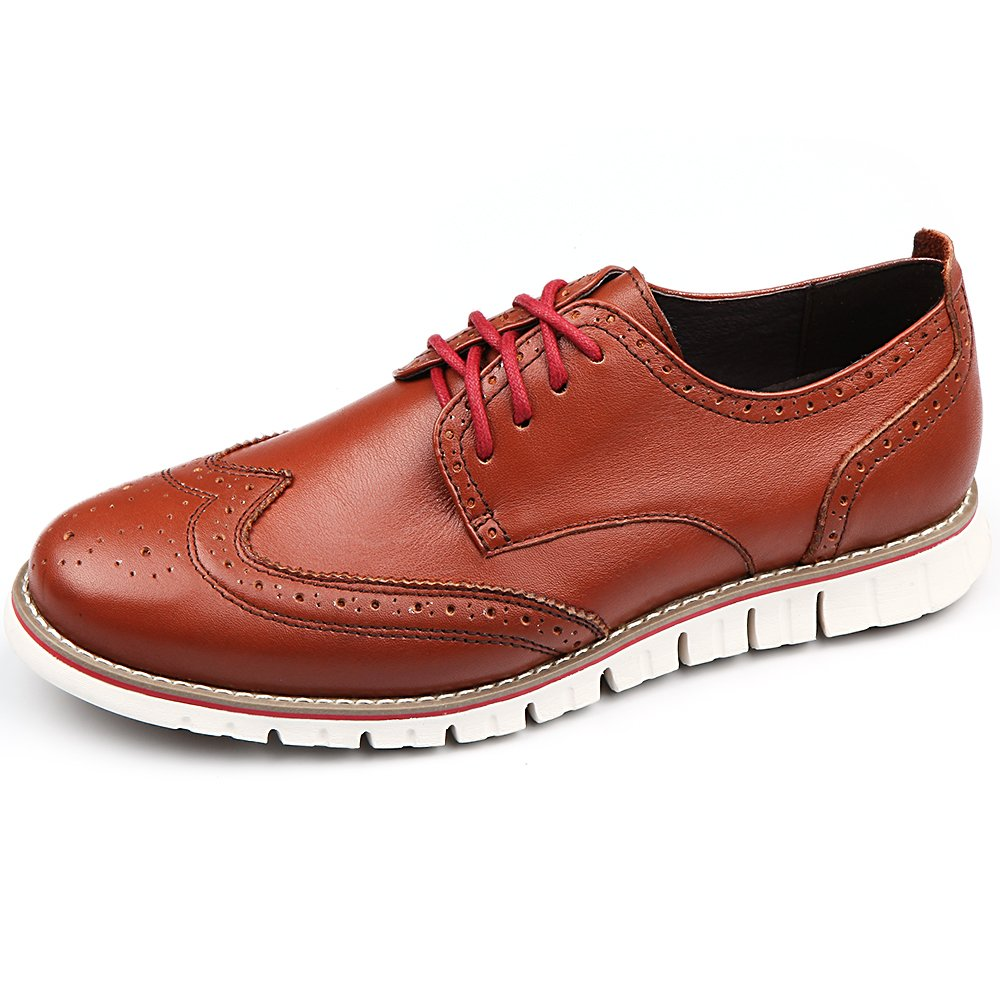 Laoks Men's Brogues Oxford Wingtip Genuine Leather Dress Shoes for Business Casual Lace-up Brown by Laoks