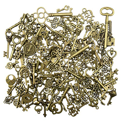 (150Pcs Antique Skeleton Key Charms Pendants for Crafting Supplies Jewelry Findings Making Accessory DIY Necklace)