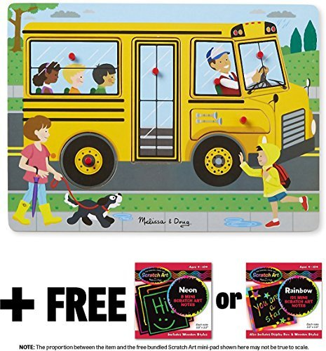 The Wheels on the Bus: 6-Piece Sound Puzzle + FREE Melissa & Doug Scratch Art Mini-Pad Bundle (07399)