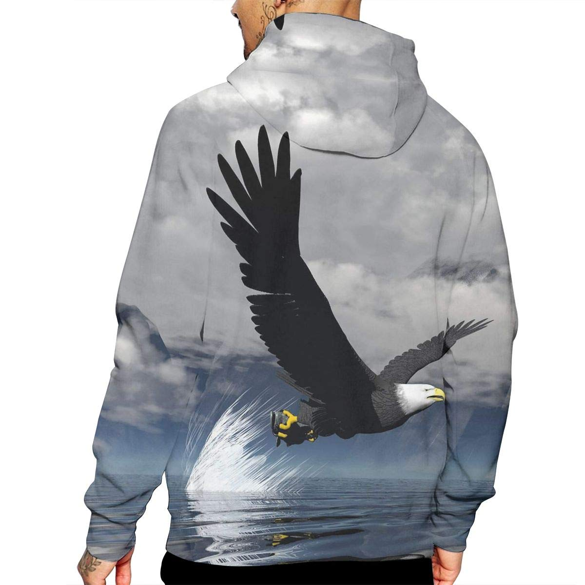 Sea Eagle Mans Long Sleeve Hoodie Casual Pocket Hooded Sweatshirt