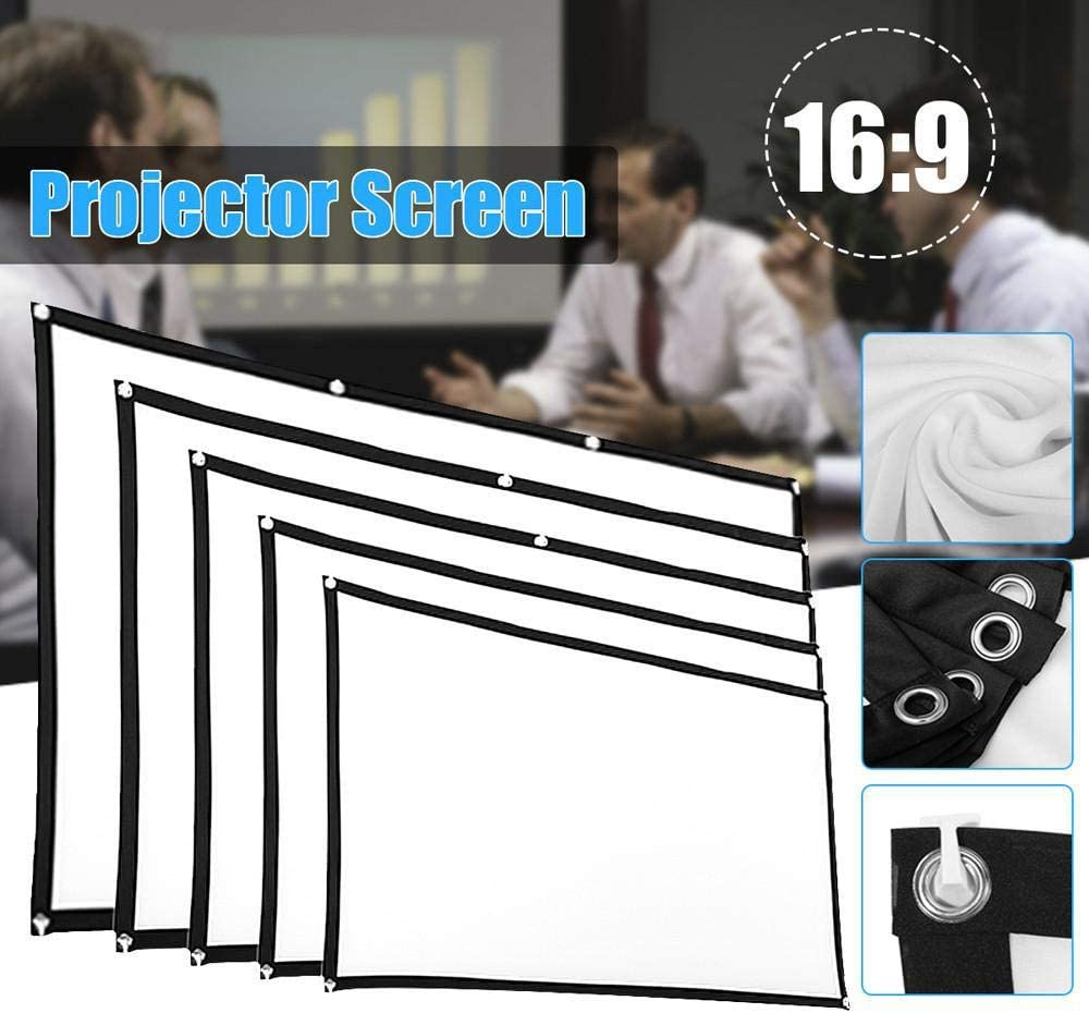Home Projector Screen Foldable Projection Curtain Non-Crease 16:9 White Cinema Projector Screen for Outdoor Movie Camping 84 in