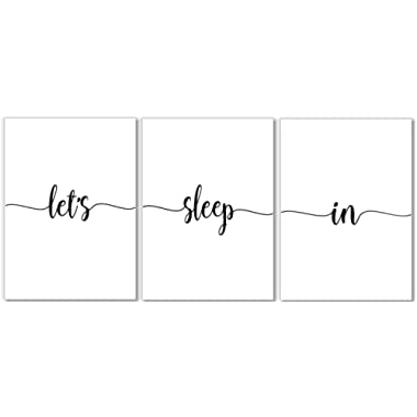 Let's Sleep In Art Prints - Bedroom Wall Decor - Set of 3-8x10 - Unframed