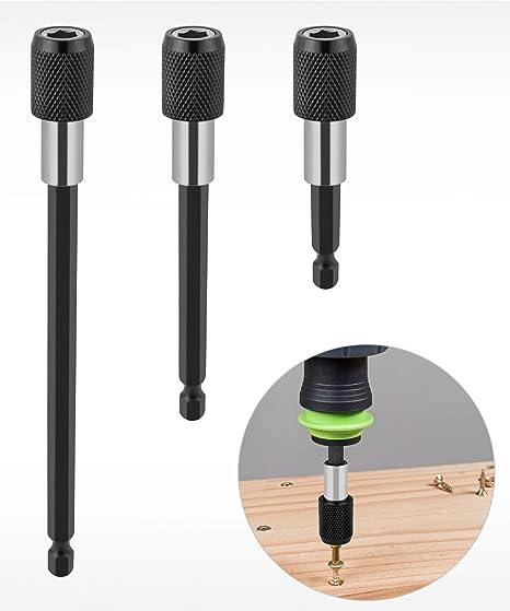 extension Mandrin Set magn/étique Qwork 3 pcs 1//10,2 cm Tige hexagonale Barre de d/égagement rapide Douille tournevis porte-embout