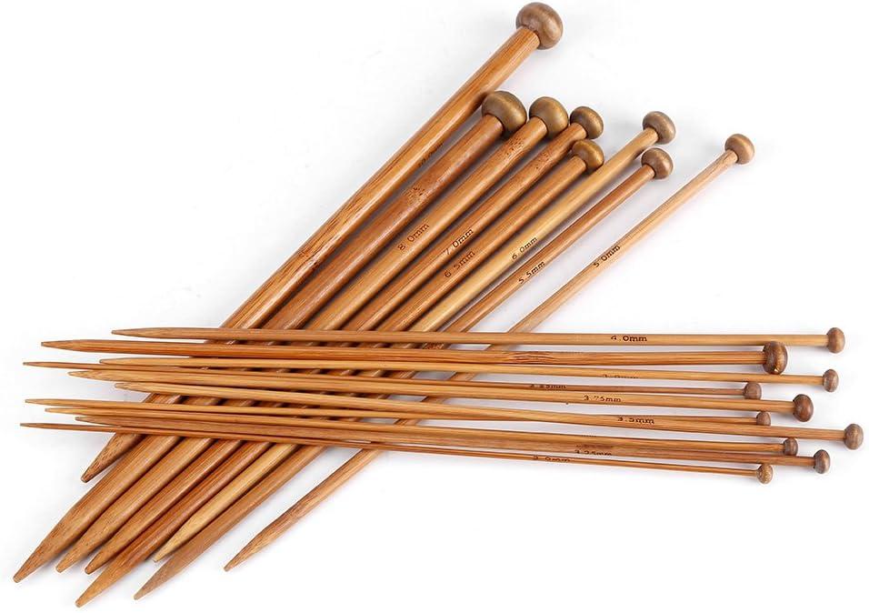 Tnfeeon Set de Agujas de Tejer de bamb/ú 18 tama/ños Agujas de Punto carbonizadas con Punta para Bricolaje Creativo Hecho a Mano 2 mm a 10 mm