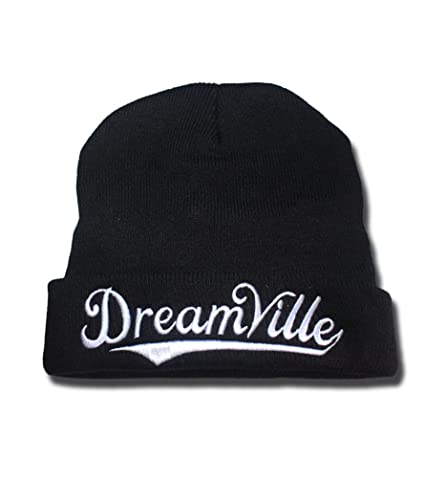 1576cc58ba2 Image Unavailable. Image not available for. Color  Dreamville Records Logo  Beanie Fashion Unisex Embroidery Beanies Skullies Knitted Hats Skull Caps