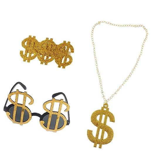 Homyl Confezione Da 3 Pezzi Brillante USD Segni Di Dollaro Anelli Occhiali  Da Sole Collane 80s Rapper Big Daddy Costume Fancy Dress Elegante DJ  Accessori ... 61e79a56c136