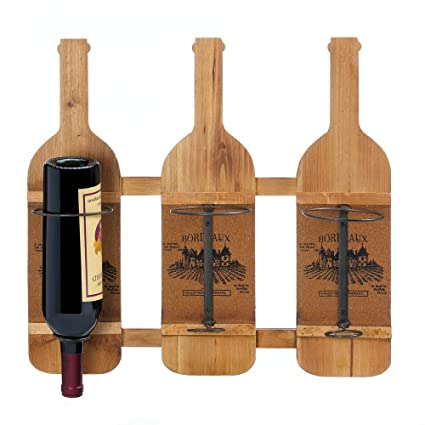 Amazoncom Accent Plus Wine Rack Wall Mount Wood Rustic Decorative