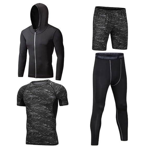 Dooxii Homme 4 Pièces Vêtements de Sport avec Hoodies Vestes Shirt Compression Collant Running Short Séchage Rapide pour Jogging Workout Football