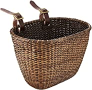 Retrospec Bicycles Cane Woven Oval Dreamcatcher Basket with Authentic Leather Straps and Brass Buckles