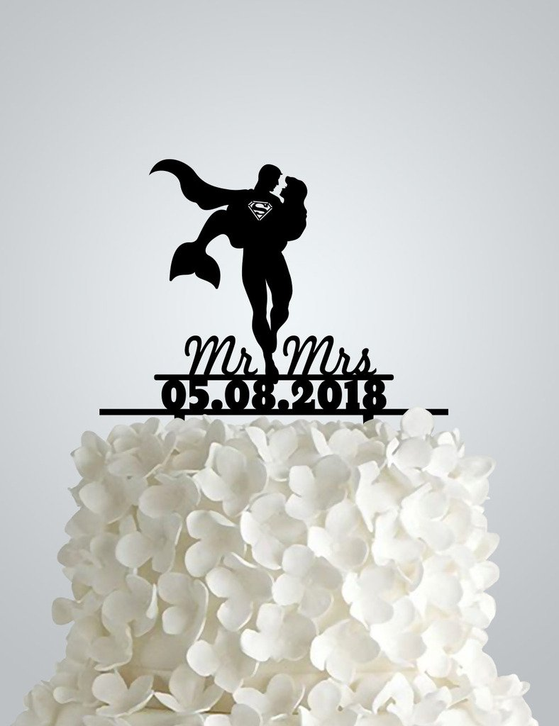 Acrylic Wedding cake Topper inspired by Superman and The Little Mermaid