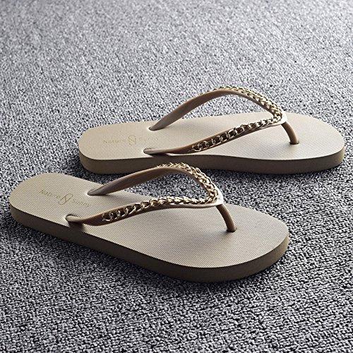 moda frescas LIXIONG blanco de Beige femenino CN37 Señoras de moda UK4 resbaladizos 5 beige zapatillas playa Portátil EU37 4 Tamaño verano marrón Color Zapatos de negro zapatillas zapatos Beige rraExqHwIp