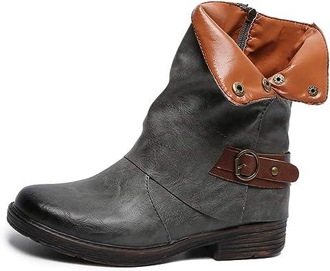 Gtagain Chaussures Femme Bottes et Bottines Femmes Cuir Talon Basse Mollet Large Bout Rond Bottes de Motard Boucle Chaussures Classique