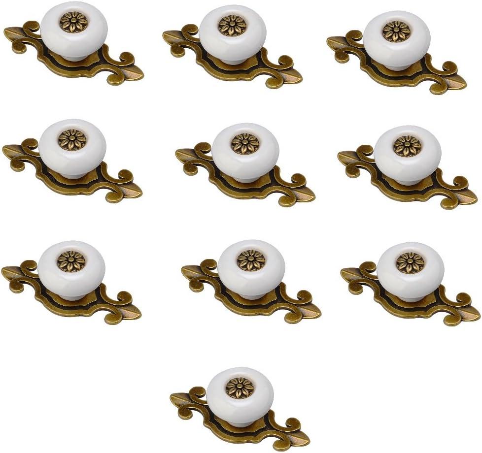 Vida * 10 perillas Pomos y tiradores de los cajones hermosas piezas de muebles Knauf pomo de la puerta manija de los muebles de cerámica con tornillos (blanco)