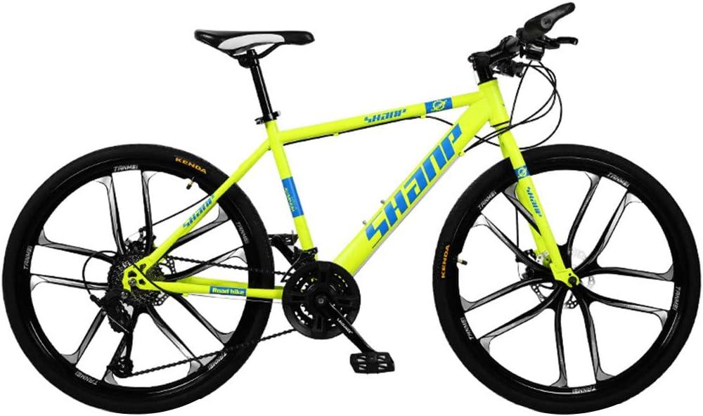Bicicleta de cross-country para jóvenes y adultos de 26 '' / 24 velocidades / 30 velocidades, bicicleta de montaña todo terreno con marco de acero de alto carbono, versión de seis palas de bicicleta