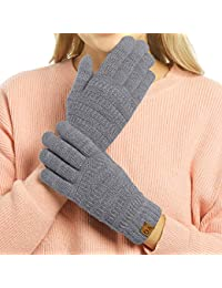 Womens Winter Touchscreen Gloves Cable Knit Warm Lined 3 Fingers Dual-layer Touch Screen Texting Mitten Glove for Women
