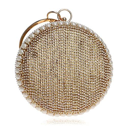 Glitter Prom Pochette Dames Sac Perle Femmes Clubs Épaule Diamant Nuptiale Soirée Gold Party À Circulaire Sac Mariage Perlé Sac Pour Cadeau Main à De Main wddpqRz