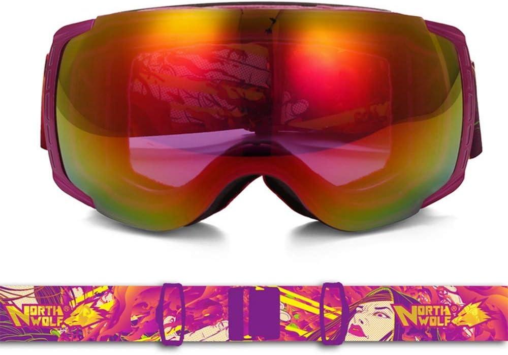 スキー用のゴーグル スキーゴーグル - TPU/PC、ダブルアンチフォグ、大口径、滑り止めゴム調節可能なヘッドバンド、近視、大人のユニセックスな目を見張るレンズアウトドアクライミングスキーゴーグル - 3色可 (色 : Laura) Laura
